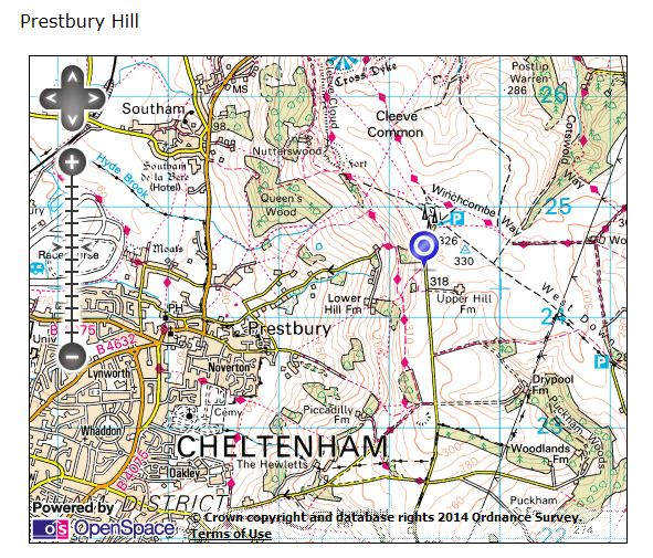 OS map of Prestbury Hill